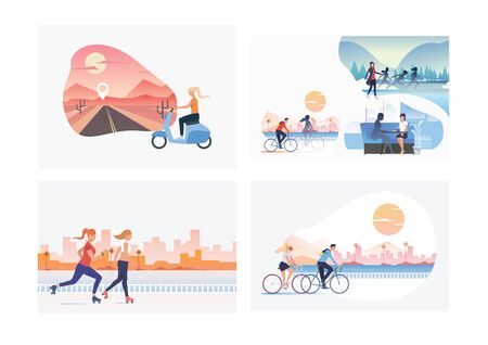 Set of summer weekend illustrations. Flat vector illustrations of people riding bicycle on beach, roller skating in city. Lifestyle concept for banner, website design or landing web page 向量圖像
