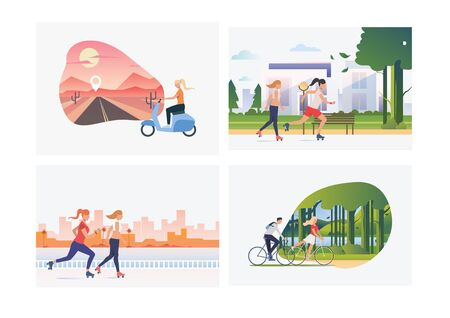 Set of women during active leisure. Flat vector illustrations of vacation, nature, transportation. Tourism, vehicle, recreation concept for banner, website design or landing web page