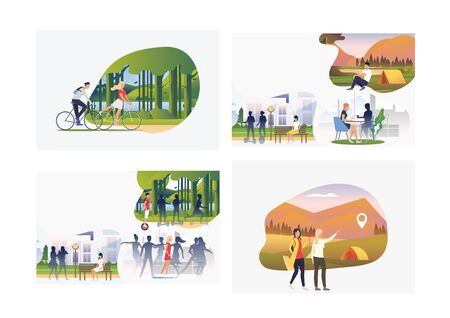 Set of young people enjoying active leisure. Flat vector illustrations of people finding locations and resting in park. Recreation, hiking concept for banner, website design or landing web page