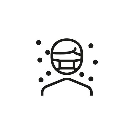Allergy protection thin line icon. Person wearing face mask, dust, allergen isolated outline sign. Allergy or health protection concept. Vector illustration symbol element for web design and apps
