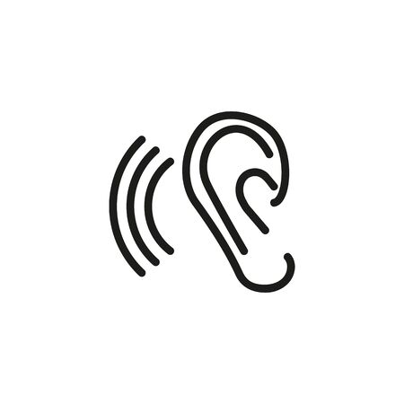 Tinnitus thin line icon. Ear and sound waves isolated outline sign. Ear disease concept. Vector illustration symbol element for web design and apps 向量圖像