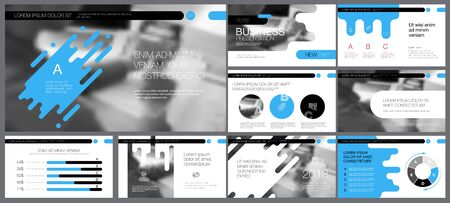 Blue, white and black infographic design elements for presentation slide templates. Business and statistical research concept can be used for marketing report, leaflet layout, banner design  イラスト・ベクター素材