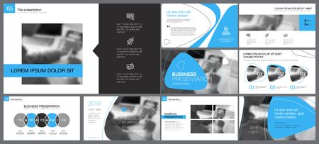Blue, grey and white infographic design elements for presentation slide templates. Business and planning concept can be used for annual report, advertising, workflow layout and banner design