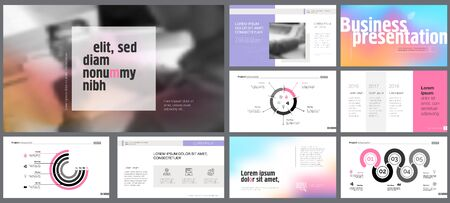 Pink, grey and purple infographic design elements for presentation slide templates. Business and project planning concept can be used for annual report, leaflet layout, poster design