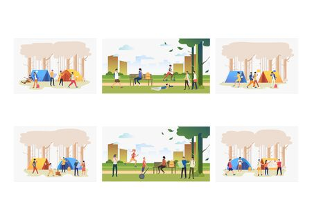 Outdoor activities set. People enjoying leisure time in park and at camps. Flat vector illustrations. Summer, leisure, lifestyle concept for banner, website design or landing web page