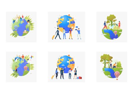 Eco tourism set. Volunteers planting trees outdoors, tourist with luggage, planet, map. Flat vector illustrations. Planet care, travel concept for banner, website design or landing web page