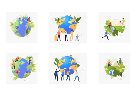 Eco travel set. Volunteers planting trees outdoors, tourist with luggage, planet, map. Flat vector illustrations. Planet care, tourism concept for banner, website design or landing web page Ilustração