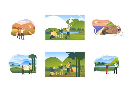 Tourism in summer set. Tourists planting seedlings near tents, riding bike, fishing. Flat vector illustrations. Outdoor activity, lifestyle concept for banner, website design or landing web page