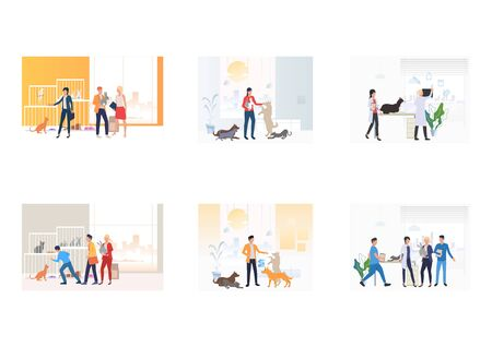 Set de cuidado de mascotas. Personas que adoptan o compran mascotas, juegan con gatos, perros, conejos, visitan al veterinario. Ilustraciones vectoriales planas. Concepto de cuidado animal para banner, diseño de sitios web o página web de destino. Ilustración de vector