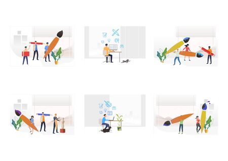 Occupation of art set. Artists, designers holding huge paintbrushes, pencils, using computer, sculpting statue. Flat vector illustrations. Art concept for banner, website design or landing web page