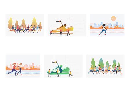 Footwear for sport set. Athletes running marathon, roller skating. Flat vector illustrations. Sport, sportswear concept for banner, website design or landing web page Vetores
