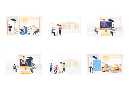 Online learning set. Trainers appearing from smartphones or computer screens. Flat vector illustrations. Education, communication concept for banner, website design or landing web page