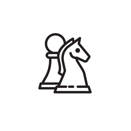Chess pawn and knight thin line icon. Chess pieces, game, strategy isolated outline sign. Startup and business concept. Vector illustration symbol element for web design and apps