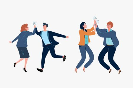 Business people giving high fives set. Teamwork, fun, cooperation flat vector illustration. Business success and cooperation concept for banner, website design or landing web page
