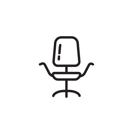 Office chair thin line icon. Revolving chair isolated outline sign. Modern furniture concept. Vector illustration symbol element for web design and apps.