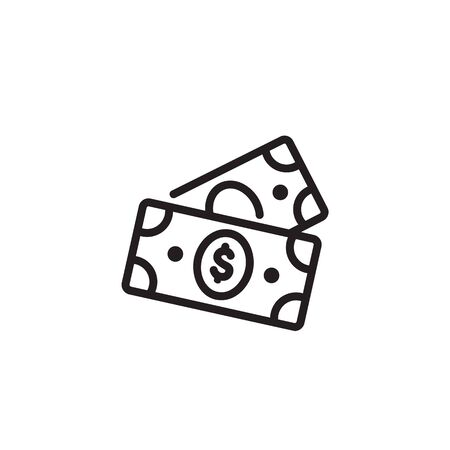Dollar banknotes thin line icon. Money, bill, payment isolated outline sign. Finance, banking, investment concept. Vector illustration symbol element for web design Ilustração