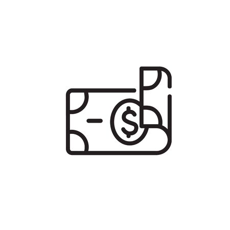 Dollar thin line icon. Money, cash, rolled banknote isolated outline sign. Finance, banking, investment concept. Vector illustration symbol element for web design