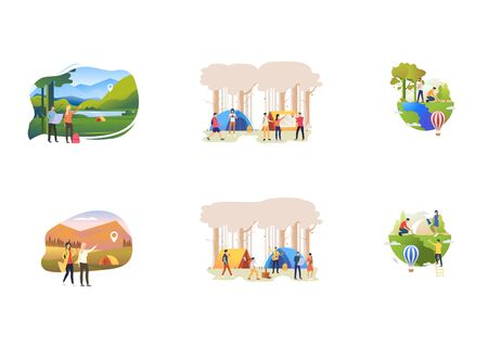 Set of people resting and taking care of plants at nature. Flat vector illustrations of people at camp, watering plants, hiking. Travel concept for banner, website design or landing web page Illustration