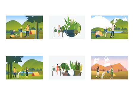 Set of campers planting and watering plants. Flat vector illustrations of watering seedlings outdoors, camping. Environment, ecology, nature care concept for banner, website design or landing web page