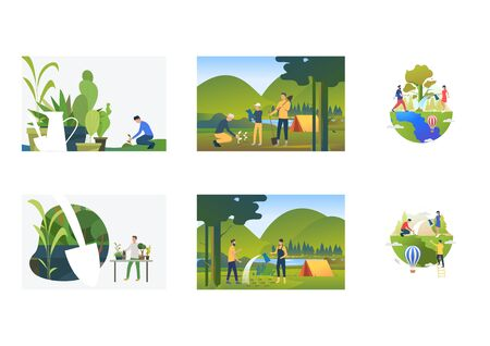 Set of people planting and watering plants. Flat vector illustrations of watering seedlings outdoors, camping. Environment, ecology, nature care concept for banner, website design or landing web page