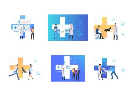 Set of people visiting vet and pediatrician. Flat vector illustrations of clinic, vet clinic, veterinary. Treatment, animal and child care concept for banner, website design or landing web page