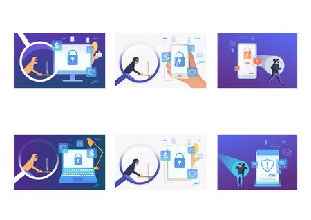 Set of cyber burglars hacking into devices. Flat vector illustrations of hackers breaking private info. Hacker attack concept for banner, website design or landing web page Vetores