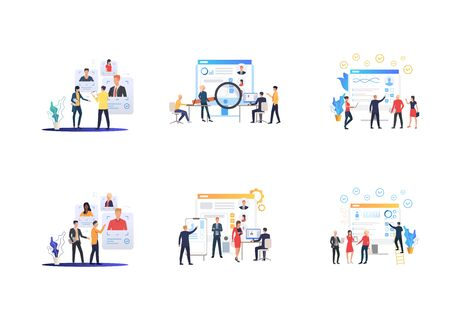 Set of recruitment agencies, applicants and job interviews. Flat vector illustrations of people studying candidates profiles. Hr, employment concept for banner, website design or landing web page 일러스트