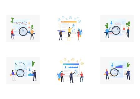 Set of recruitment agencies, applicants and job interviews. Flat vector illustrations of recruitment agencies and job interviews. Hr, employment concept for banner, website design or landing web page 일러스트
