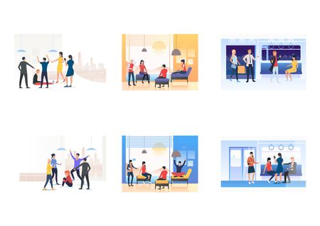 Set of young people in various situations. Flat vector illustrations of people at public transport, bullying. Communication, transportation concept for banner, website design or landing web page