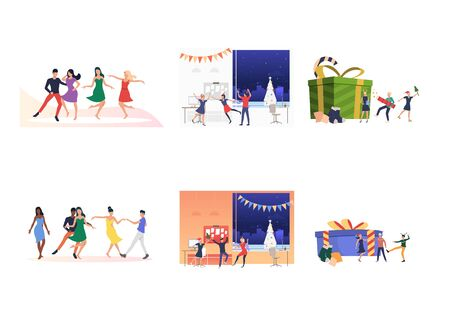 Set of people relaxing during Christmas holiday. Flat vector illustrations of colleagues dancing at office. Christmas of New Year concept for banner, website design or landing web page
