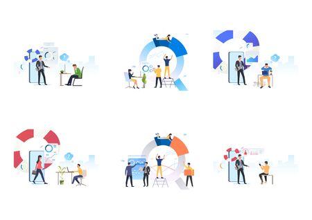 Ensemble de centre de support de consultation d'équipe. Illustrations vectorielles à plat de consultants donnant des conseils. Entreprise, coaching, concept de support Internet pour la bannière, la conception de sites Web ou la page Web de destination Vecteurs