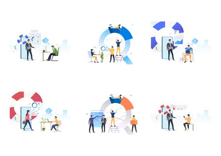 Set of team consulting support center. Flat vector illustrations of consultants giving advices. Business, coaching, internet support concept for banner, website design or landing web page Vektoros illusztráció