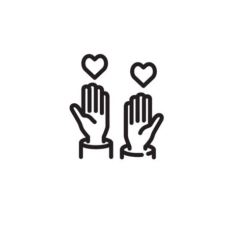 Hands reaching hearts thin line icon. Giving and donation isolated outline sign. Charity concept. Vector illustration symbol element for web design and apps. Illustration
