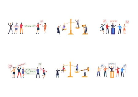 Set of judgement and meetings. Flat vector illustrations of activists holding protest placards, people on justice scales. Activism, democracy concept for banner, website design or landing web page
