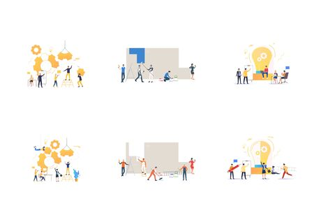 Set of various commands working together. Flat vector illustrations of workers constructing mechanism, painting wall. Construction, teamwork concept for banner, website design or landing web page Vektoros illusztráció