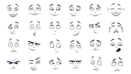 Facial expression flat vector illustration set. Happy, laughing, pensive, unhappy, tired, angry, crying monochrome cartoon face. Emotions concept Ilustracja