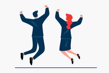 Business couple celebrating success. Partners, successful businesspeople, winning flat vector illustration. Business, leadership, triumph concept for banner, website design or landing web page