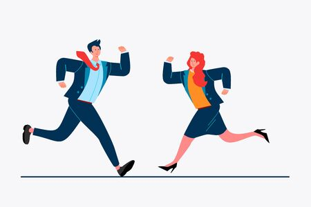 Business colleagues running to each other. Couple, partners, competitors flat vector illustration. Business, cooperation, competition concept for banner, website design or landing web page Ilustração Vetorial