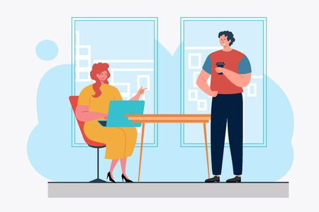 Colleagues using laptop and chatting. Friendship, coffee break, modern office flat vector illustration. Communication, discussion concept for banner, website design or landing web page Illustration