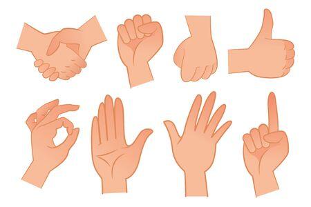 Hand gestures flat vector illustration set. Handshake, fist, thumb up, ok, palm, pointing index finger up. Communication concept