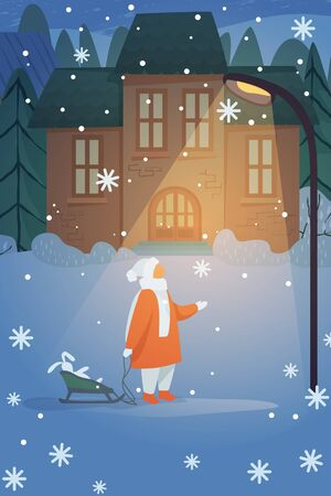 Kid walking near house at night. Toy in sleigh, street lamp, winter flat vector illustration. Winter vacation, home, Christmas concept for banner, website design or landing web page