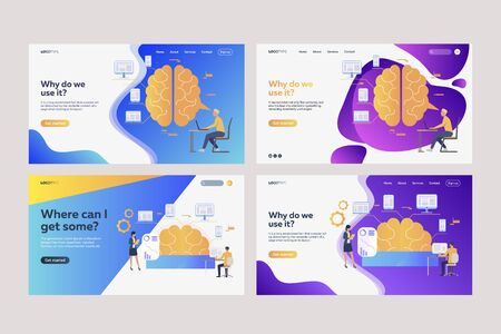 Collection of analysts analyzing efficiency. Flat vector illustrations of brains, devices, infographics. Efficiency concept for banner, website design or landing web page
