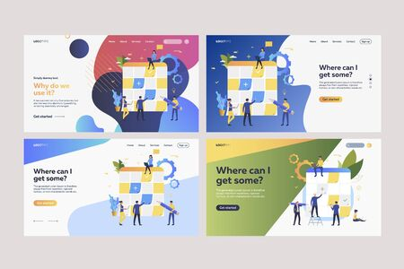 Set of employees working with planning boards. Flat vector illustrations of tiny people sticking paper notes on Kanban boards. Business concept for banner, website design or landing web page Ilustracja