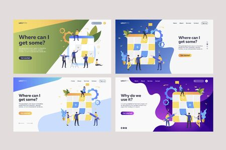 Set of employees sticking paper notes on planning boards. Flat vector illustrations of tiny people planning work with Kanban boards. Business concept for banner, website design or landing web page