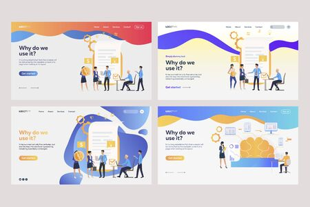 Collection of analysts working with financial documents. Flat vector illustrations of tiny people near reports. Business concept for banner, website design or landing web page