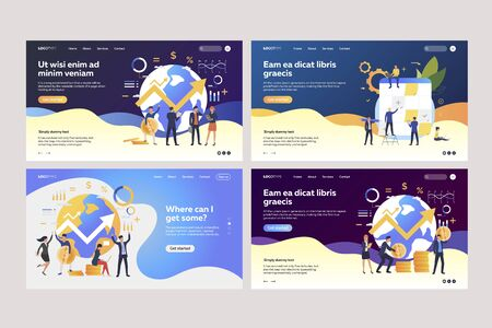 Collection of successful business people calculating money. Flat vector illustrations of analysts working with financial charts. Business success concept for banner, website design or landing web page