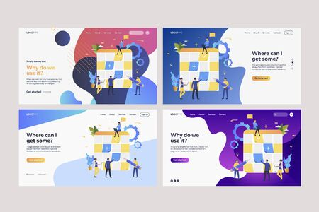 Set of workers sticking paper notes on planning boards. Flat vector illustrations of tiny people planning work with Kanban boards. Business concept for banner, website design or landing web page Ilustracja