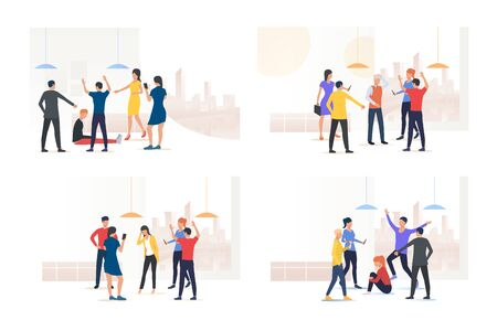Bullying victim set. Group of people mocking their mate. Flat vector illustrations. Human communication, aggression concept for banner, website design or landing web page
