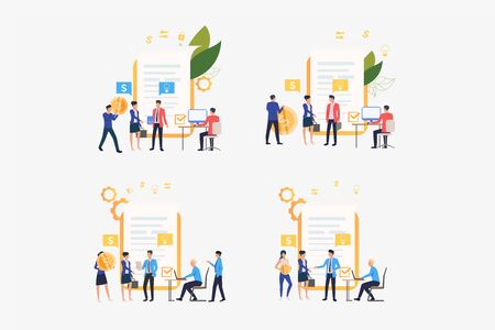 Business deal set. Partners closing contract, signing agreement. Flat vector illustrations. Meeting, cooperation, partnership concept for banner, website design or landing web page