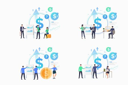 Financial analysis set. Professional financiers presenting profit reports. Flat vector illustrations. Business, income, investment concept for banner, website design or landing web page Illustration